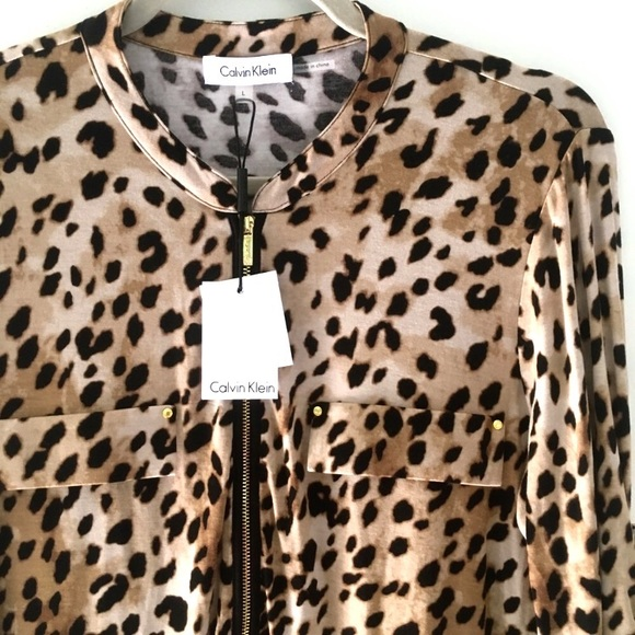 48cacfaf5b87 Calvin Klein Tops   Nwt Animal Print Zip Up Blouse Jacket   Poshmark